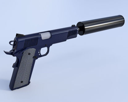 Picture of .45 Caliber Pistol With Silencer Models Poser Format