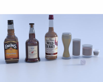 Picture of Bar Glassware and Bottle Models Poser Format