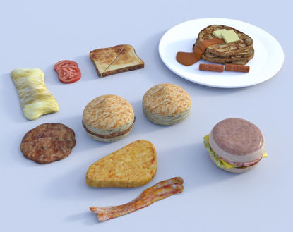 Picture of Breakfast Food Models Bundle Poser Format