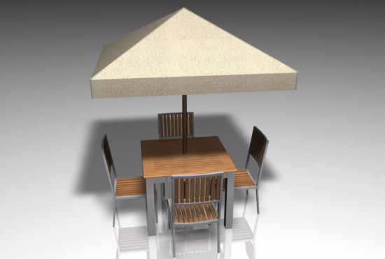 Picture of Covered Patio Table Furniture Model FBX Format