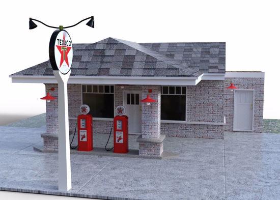 Vintage Gas Station Scene Poser Format